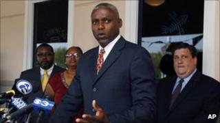Carl Lewis at a news conference