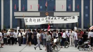 People gathered outside the Lufeng government office on 23 September 2011