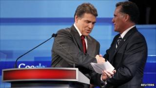 Rick Perry (left) and Mitt Romney