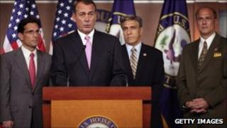 House Speaker John Boehner with colleagues behind