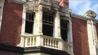 Fire damage to Newport flat