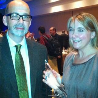 Giles Wilson and Bella Hurrell at awards event in Boston