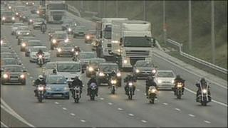Bikers protest on M1 in Nottinghamshire