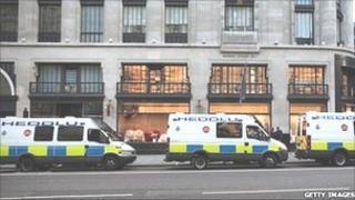 North Wales Police vans deployed in Regent Street, London in August