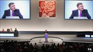 Ed Balls speaks to the Labour conference
