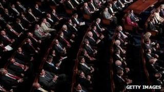 Members of Congress listen to an address by President Barack Obama, 8 September 2011