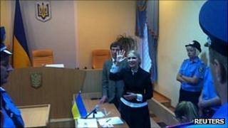 Yulia Tymoshenko in court in Kiev, 23 August