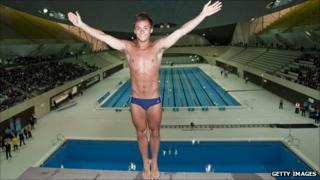 Tom Daley on the Olympic diving board on 27 July 2011 - one year to go to the Olympic Games.