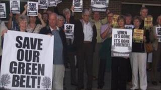Protesters against housing plans outside Castle Point Borough Council