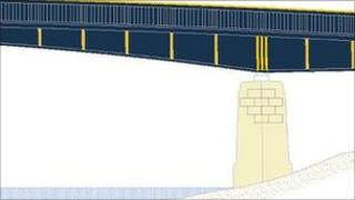 Artist's impression of the new colour scheme for Upton bridge