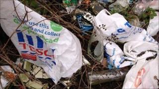 Plastic bags waste