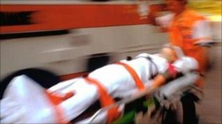 Injured man on stretcher