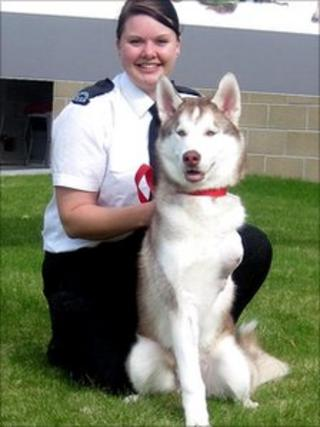 Animal Care Assistant Emily Drummond with Diesel
