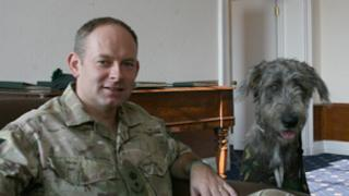 Lt Col Colin Weir and regimental mascot Brian Boru