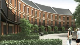 Artist's impression of homes at Newbury Racecourse