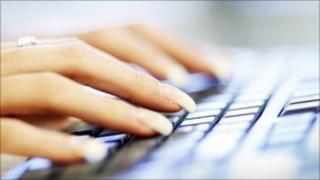Worker on keyboard
