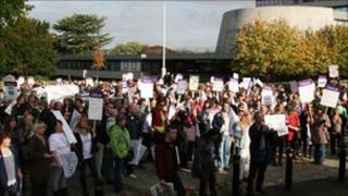 Unison members outside Shirehall
