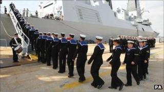 Sailors arrive on HMS Dragon