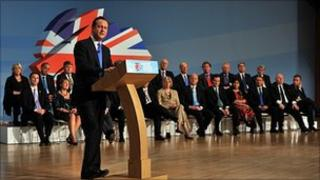 David Cameron addressing the 2010 Conservative Party conference