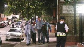 The scene of shooting in North Kensington