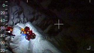 Image from RAF helicopter of Tower Ridge rescue. Pic: RAF/MoD