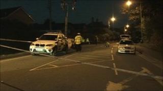 Cyclist crash scene in Tavistock