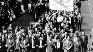 Shipbuilders taking part in protest march in Glasgow in 1971