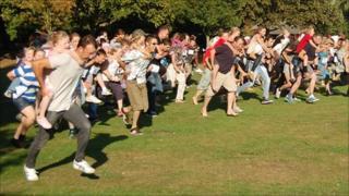 Piggyback race in Colchester's Castle Park