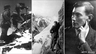 Mallory climbing in 1922, climbing in 1909, and in portrait
