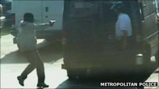 Police footage of Nunes pointing a gun at the head of a security guard