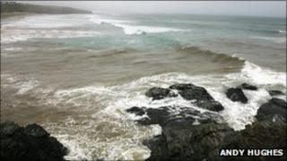 The image is at Godrevy and features discharge from a CSO entering the sea