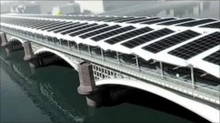 Image of solar panels on the Blackfriars bridge