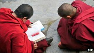 File image of young Tibetan monks in Kangding county, Sichuan province, China