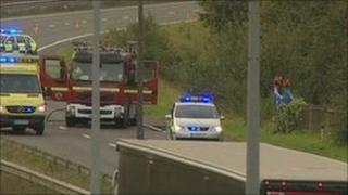 Scene of the crash on the A23 at Pyecombe