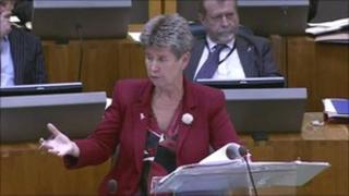Finance Minister Jane Hutt delivering the draft budget