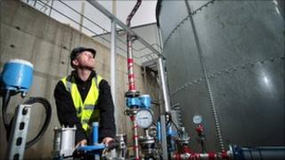 Man working at the anaerobic digestion plant at Cumbernauld