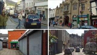 Clockwise from top: Aberystwyth, Wrexham, Merthyr Tydfil and Mold