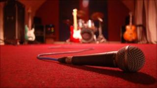 microphone and band equipment