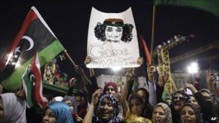 Women in Libya celebrate the rebellion against Col Gaddafi