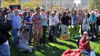 Protesters gather at Occupy Cleveland, 6 October 2011