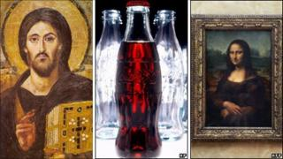 Christ, Coca-Cola bottle and the Mona Lisa