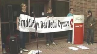 Protesters outside the BBC studios at Wrexham