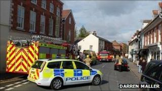 Emergency vehicles in Newent town centre