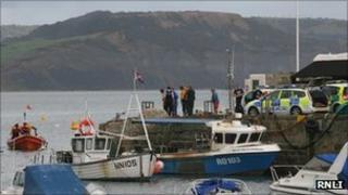 Scene of the incident at The Cobb, Lyme Regis