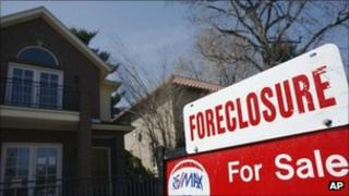A foreclosure sign outside a house