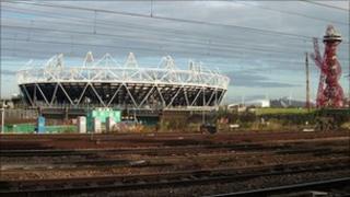 The London 2012 Olympic stadium and Arcelor Mittal Orbit sculpture