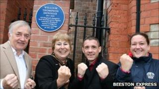 Alan Dance, Jacky Williams, boxer Jason Booth and Charlotte Blomely at the unveiling of the plaque