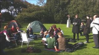 Protest at St Andrews University Pic: Seonag Mackinnon
