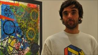 Gareth Bayliss and one of his screenprints