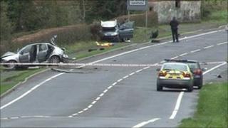 The scene of the crash outside Enniskillen